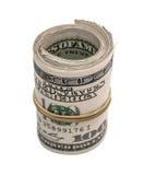 Hundert Dollar oben gerollt Lizenzfreie Stockfotos