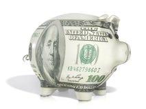 Hundert Dollar piggy Lizenzfreies Stockfoto