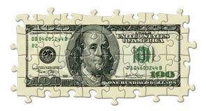 Hundert Dollar-Puzzlespiel Lizenzfreie Stockfotografie