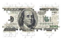 Hundert Dollar Puzzlespiel (getrennt) Stockfoto