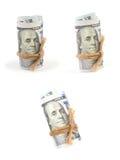 Hundert-Dollar-Rechnungen gerollt lizenzfreies stockfoto