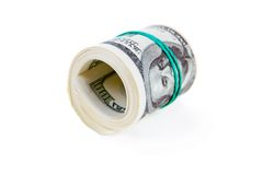 Hundert Dollar Rollen- Lizenzfreie Stockfotos