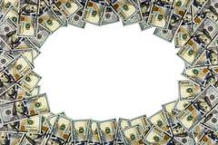 Hundert Dollarrahmen lokalisiert auf Weiß Stockbilder