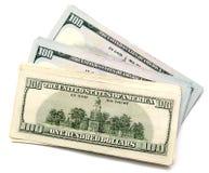 Hundert Dollarschein auf einem weißen Hintergrund Stockfotos