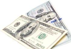 Hundert Dollarschein auf einem weißen Hintergrund Stockfoto