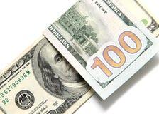 Hundert Dollarschein auf einem weißen Hintergrund Stockbild