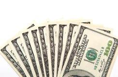 Hundert Dollarschein auf einem weißen Hintergrund Stockbilder
