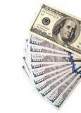 Hundert Dollarschein auf einem weißen Hintergrund Lizenzfreies Stockbild