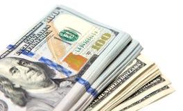 Hundert Dollarschein auf einem weißen Hintergrund Stockfotografie
