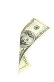 Hundert Dollarschein, der auf weißen Hintergrund fällt Stockfotos
