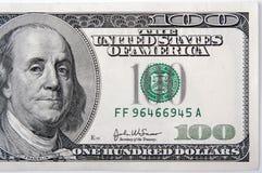 Hundert Dollarschein halb Lizenzfreie Stockbilder