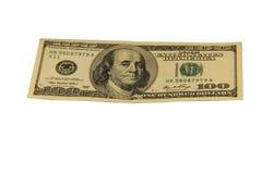 Hundert Dollarschein lokalisiert auf weißem Hintergrund Lizenzfreies Stockbild