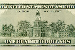 Hundert Dollarschein-Rückseite Stockbild