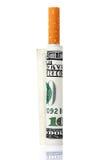 Hundert Dollarschein und Zigarette Stockfotos