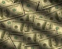 Hundert Dollarscheine, die flach liegen Lizenzfreie Stockfotos