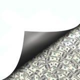 Hundert Dollarscheine hinter curld Seite Stockbilder