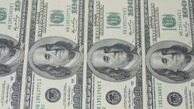 Hundert Dollarscheine Makrophotographie von Banknoten Portrait von Benjamin Franklin stock video