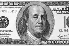 Hundert Dollarscheinfragment Stockbild