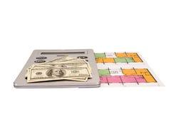 Hundert Dollarscheingeldstapel und -taschenrechner auf Plänen Lizenzfreie Stockbilder