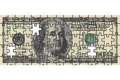 Hundert Dollarscheinpuzzlespiel Stockbilder