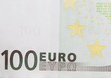 Hundert Euro als Hintergrund Makro Stockbilder