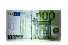 Hundert Eurobezeichnung in der Hintergrundbeleuchtung lizenzfreie stockfotografie
