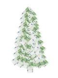 Hundert Euroweihnachtsbaum Stockbild