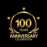 Hundert Jahre Jahrestag golden Jahrestagsschablonenentwurf für Netz, Spiel, kreatives Plakat, Broschüre, Broschüre, Flieger, maga lizenzfreie abbildung