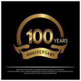 Hundert Jahre Jahrestag golden Jahrestagsschablonenentwurf für Netz, Spiel, kreatives Plakat, Broschüre, Broschüre, Flieger, maga stock abbildung