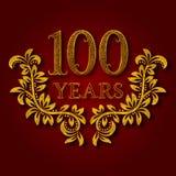 Hundert Jahre kopierte Firmenzeichen des Jahrestages Feier Goldenes Logo der Hundertstel Jahrestagsweinlese Lizenzfreie Stockfotos