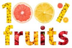 Hundert Prozent-Früchte Stockfoto