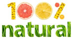 Hundert Prozent-natürliche Früchte Stockbilder