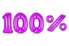 100 hundert Prozent, purpurrote Farbe Stockbild