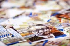 Hundert Schekel-Rechnungs-unordentlicher Hintergrund Stockfotografie