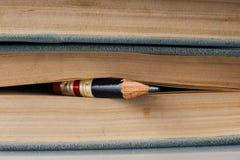 Hundert Seiten-Buch-Hintergrund mit kleinem perfektem Bleistift stockbild
