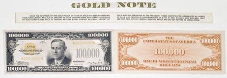 Hundert tausend Dollarschein Lizenzfreies Stockbild