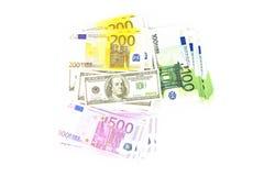 Hunderte vom Euro und von den Dollar Stockbild