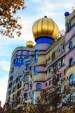 Hundertwasser房子看法在达姆施塔特,德国 图库摄影