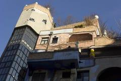 Hundertwasser议院外部门面在维也纳 图库摄影