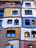 Hundertwasser Haus in Vienna,Austria. Front view of weird Hundertwasser Haus, an apartment complex for social housing, in Vienna Austria. This photo is made from Stock Photo