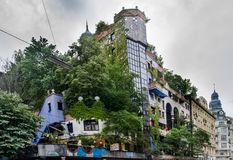 Hundertwasser Haus in Vienna at cold rainy day royalty free stock image