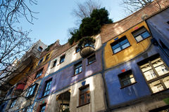Hundertwasser house in autumn, Vienna, Austria Stock Images