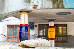 Hundertwasser House columns, Vienna, Austria Royalty Free Stock Image