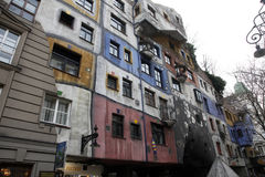 Hundertwasser House in Vienna, Royalty Free Stock Images