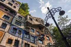 Hundertwasser house in Vienna. Bottom view on exterior of famous colorful Hundertwasser house in Vienna, Austria Stock Photography