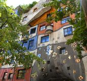 Hundertwasser house in Vienna this spring stock image