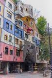 Hundertwasser hus - Wien Arkivbilder