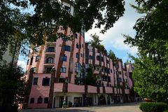 Hundertwasser`s Green Citadel of Magdeburg Royalty Free Stock Images