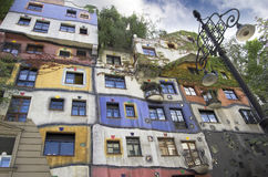 Hundertwasserhaus. Haus in Vienna designed by artist Friedensreich Hundertwasser in the early 1980?s and features uneven floors Royalty Free Stock Images