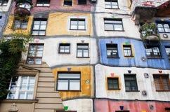 The Hundertwasserhaus is an apartment house Stock Photos
